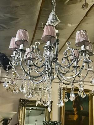 Gorgeous Eight Arm Chrome Glass And Chrystal Chandelier With Multiple  Drops #2