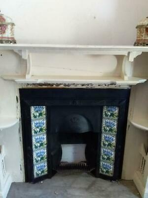 Antique / Vintage Cast Iron Fireplace With Pretty Floral Tiles On Either Side..