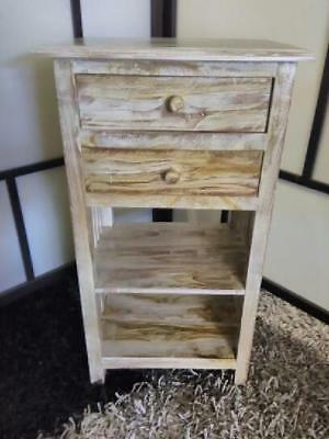 New French Style Whitewash Bedside Or Side Table With 2 Drawers And Two Shelves