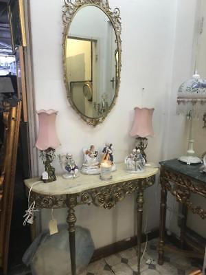 Rococo Carved French Louis Xv  Gold Brass & Marble Console Table And Mirror