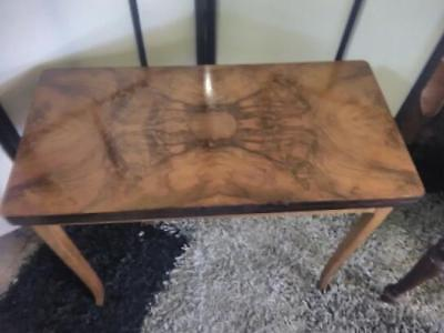 Antique Art Deco Burr Walnut Hall / Side Table That Morphs Into A Card Table.
