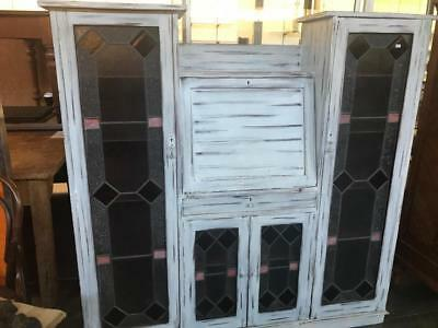 Antique Painted Mahogany Bureau / Bookcase/ Cabinet With Leadlight Glass Doors