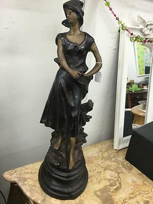 Vintage Bronze Sculpture Of A Peasant Girl..51Cm