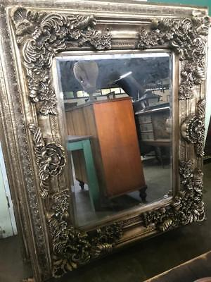 SILVER ROCOCO CARVED FRENCH LOUIS  BEVELLED MIRROR 130 x 155CM HUGE 3 DAY SALE