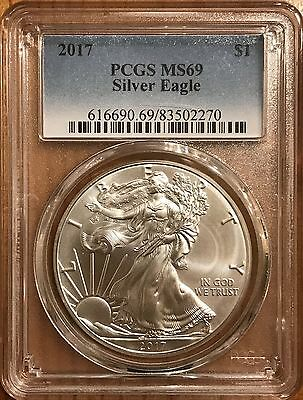 2017 American Silver Eagle - PCGS MS69, Near Mint Condition, ASE, Certified