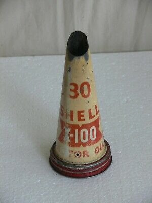 Vintage Shell 30 Motor Oil X-100 Tin Top Oil Bottle Pourer