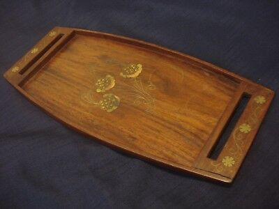 Chinese antique solid wood copper flower tray