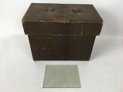 Vintage Storage Box Glass Slide 5X4 inches Inside Wood and Canvas