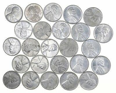 1/2 Roll 1943 Lincoln Wheat STEEL Cent - Beautiful Mostly BU Unc 25 Coins *620