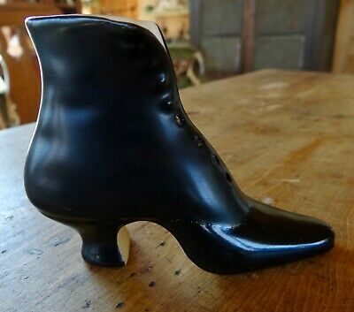 High Edwardian Style Royal Bayreuth Figural Shoe Two Shades of Black Beautiful!