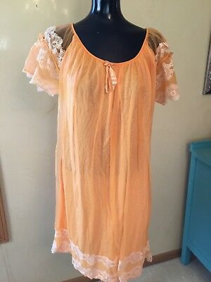 Vtg 60s Movie Star Silky Tangerine Nylon Tricot sz Med Nightgown Gown USA HTF