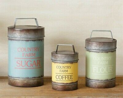 RUSTIC METAL COUNTRY Farm Kitchen Canisters Flour Sugar ...