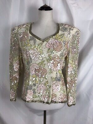 Vtg Nite  Line 100% Silk Heavily Beaded Sequined Blouse Ivory Floral Women's S/M