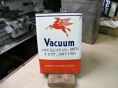 Vacuum 1 Gallon oil tin Marked Preservac Red fast drying