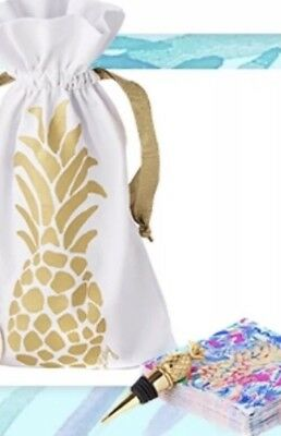 Lilly Pulitzer NWT Gold Pineapple Wine Tote And Gold Stopper Napkins Not Include