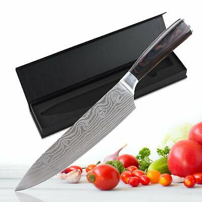 8 Inch Chef Knife Damascus Pattern Kitchen Slicing Cutter Knife Wooden Handle