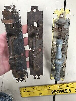 3 Antique Norfolk Iron 1850 Thumb Latch Door Handle New England Country