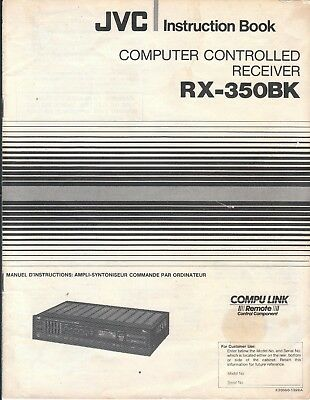 JVC RX-350BK Computer Controlled Receiver Instruction Book