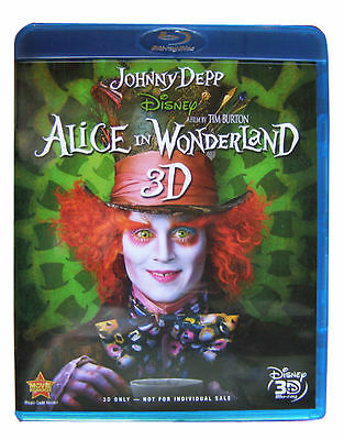 Alice in Wonderland - Disney (3D Blu-ray, 2010) Tim Burton Film