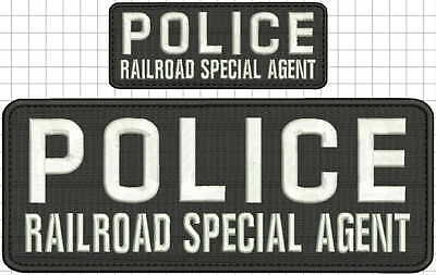 police railroad special agent embroidery patch 4x10 /&2x5 hook on back