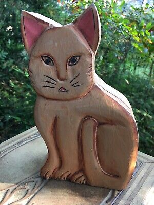 Unique Large Hand Carved Wooden Cat Box Folk Art Jewelry Box