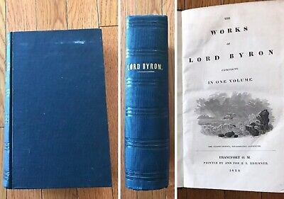 1829 Works of Lord Byron Complete in 1 Volume 2nd Ed w/Lake's Life of Lord Byron