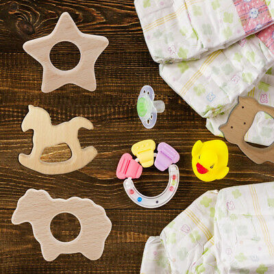 Safe Wooden Natural Cute Shape Ring Baby Teether Teething Shower Toy B