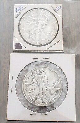 Lot Of Two (2) Walking Liberty Half Dollars - 90% Silver - Circulated 1941S 1943