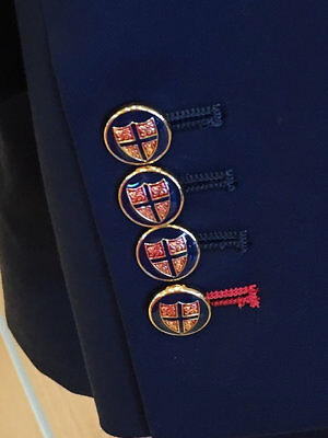 9 CT Gold Navy Red FOUR LIONS  Holland & Sherry Blazer Buttons  Gift for Men