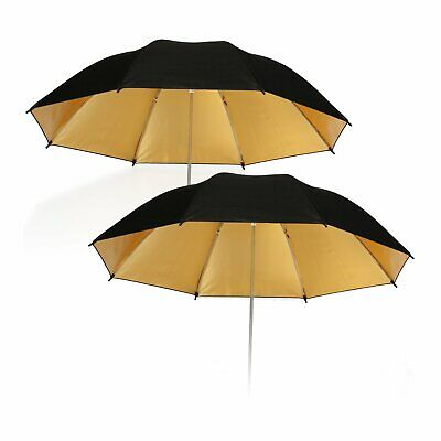 "33"" 83cm Photo Studio Flash Light Reflector Reflective Black Gold Umbrella x 2"
