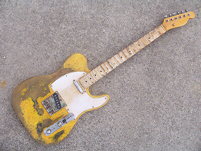 heavy relic distressed t style electric guitar--vintage yellow