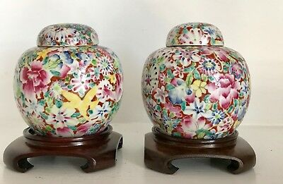 Pair Qing Antique Chinese Porcelain Ginger Jars Lids ~CHINA ~Mille Fleur ~Stands