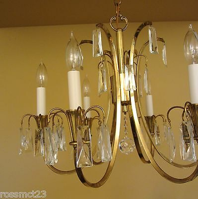 Vintage Lighting distinctive Mid Century crystal chandelier