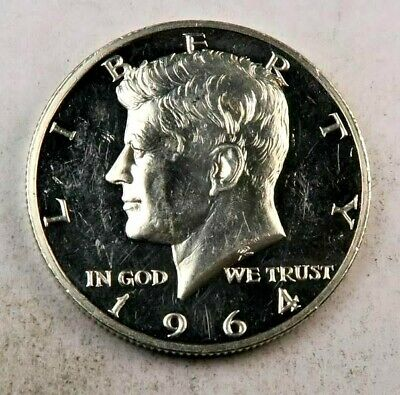 1964 *Accented Hair* Kennedy Half Dollar // Proof *CAMEO* // (H391)