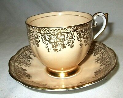 BELL Fine Bone China Tea Cup & Saucer Duo Set Champagne & Gold grapes MINT
