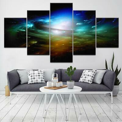 Canvas Wall Art 5 Panel Space Print Modern Abstract Painting Cosmos Universe ...