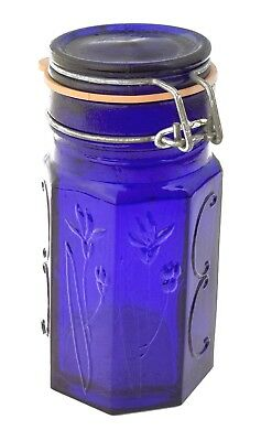 Vintage Embossed Cobalt Blue Glass 8 Panel Canister with Hinged Bale Wire Lid!