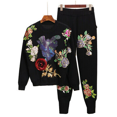 women Bling  Sequin embroidery Tracksuit Jogging Athletic Jacket + Pant Sportwea
