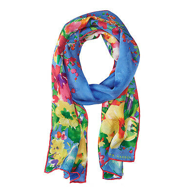 RALPH LAUREN 100% Silk Blue Multi Oblong Floral Print Jacquard PARISA Scarf NEW