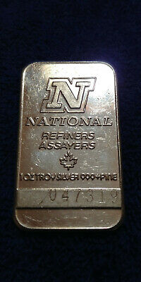 NATIONAL 1 Oz troy Silver .999+ Fine SILVER BAR (Numbered 047319) Canada