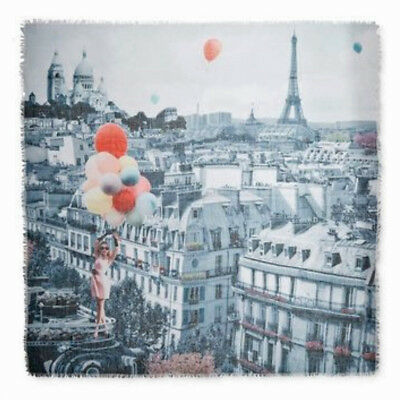 "COLLECTION 18 XIIX EIGHTEEN Balloon Girl Over Paris Eiffel Tower 44"" Scarf • NEW"