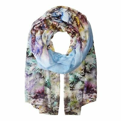 "ECHO DESIGN Blue Multi Color CORAL REEF Print Oblong Scarf Wrap 42"" x 84"" • NEW"