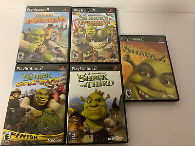 Lot of 5 Shrek Games Sony PS2 - Shrek 2, Third, Party Craze, Super Slam, Smash!