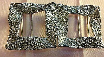 Silver Tone Belt Buckle Contemporary Textured Weave Pattern Vintage