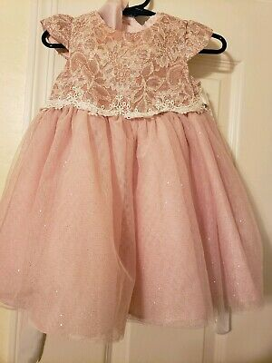 Rare Editions Baby Girl lace pink dress toddler size 12 Months