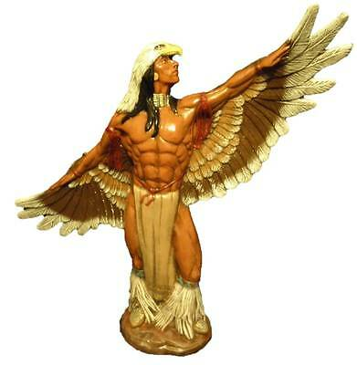 Ceramic Bisque Handpainted  'Eagle Dancer' Native American Indian 37cm Tall