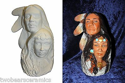 Ceramic Native American - Bisque or Handpainted Indian Lovers 24cm Tall