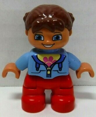 *NEW* LEGO DUPLO Small Child Girl Figure Minifigure Pig Tails PInk Flower Shirt
