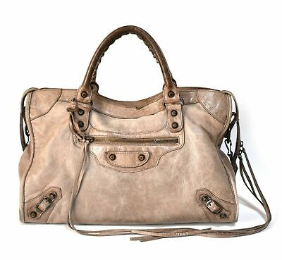 1056ca745cf FREE Int'l Shipping Authentic Balenciaga City Bag Leather Brown Grey Two Way