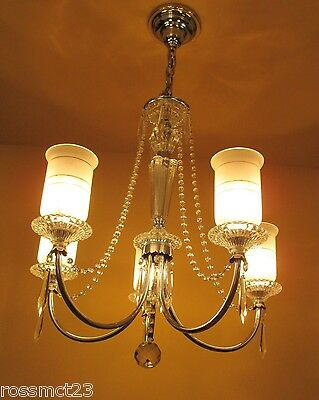 Vintage Lighting all original 1940s crystal chandelier